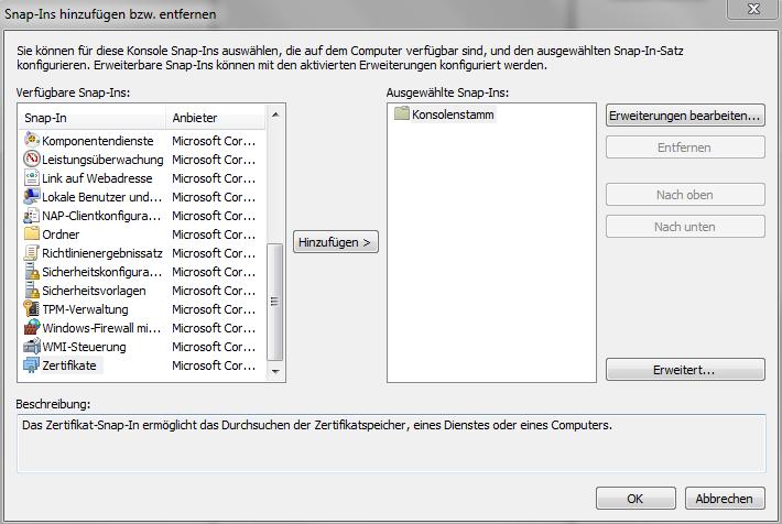 Zertifikat von einem Windows System exportieren – SSLplus